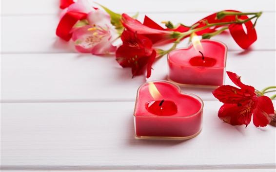 Papéis de Parede Velas do coração do amor, fogo, lírio, romântico