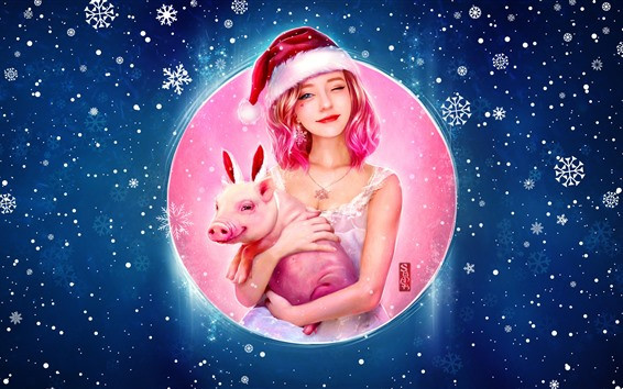 Wallpaper Lovely pink hair girl and pig, Christmas, snowflakes