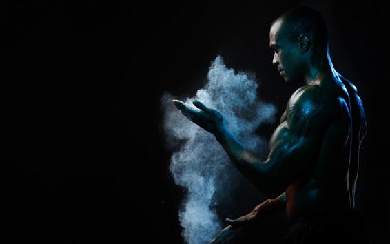 Fondos de pantalla Hombre, músculo, humo, fondo negro