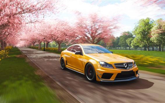 Papéis de Parede Mercedes-Benz AMG C63 carro amarelo, velocidade, Forza Horizon