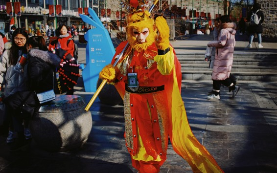Wallpaper Monkey King, cosplay, street