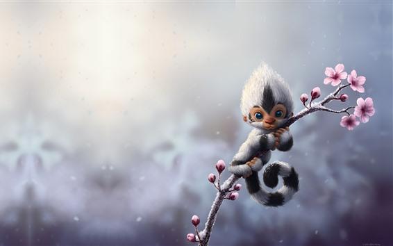 Wallpaper Monkey, flowers, art picture