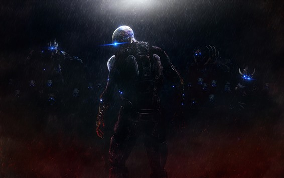 Fondos de pantalla Monstruo, lluvia, noche, Mass Effect.