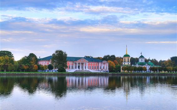 Fondos de pantalla Moscú, Sheremetyevo, Kuskovo, lago, edificios, árboles