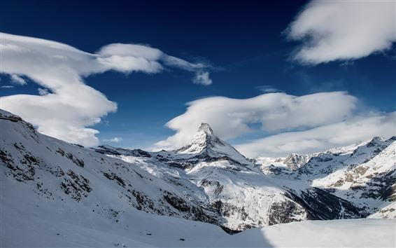 Fond d'écran Montagne, crête, neige, nuages, ciel