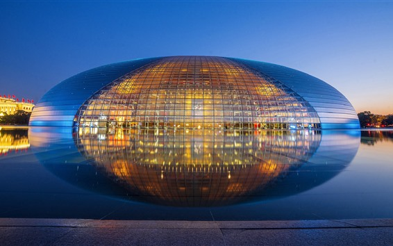 Wallpaper National Centre For The Performing Arts, lake, water reflection, lights, China