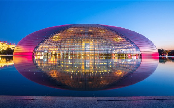 Papéis de Parede Centro nacional para as artes de palco, reflexão da água, lago, China