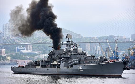 Wallpaper Navy, destroyer, smoke, river, bridge