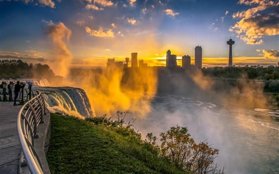 Wallpaper Niagara Falls, morning, fog, waterfall, city, USA