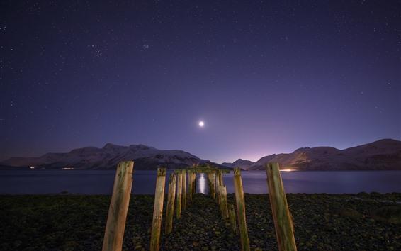 Обои Ночь, залив, озеро, горы, пень, звёздный, луна