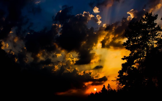 Wallpaper Night, sunset, clouds, sun, silhouette