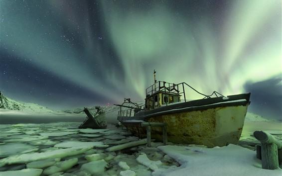 Fondos de pantalla Noruega, aurora boreal, barco, noche