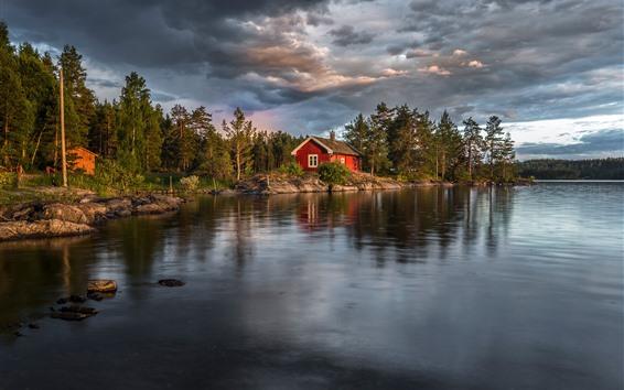 Fondos de pantalla Noruega, lago, arboles, casa