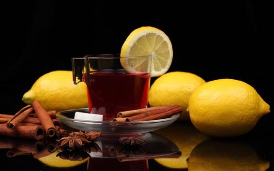 Papéis de Parede Uma xícara de chá, limão, canela
