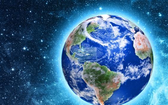 Papéis de Parede Nosso lindo planeta, Terra, brilho, estrelas, espaço