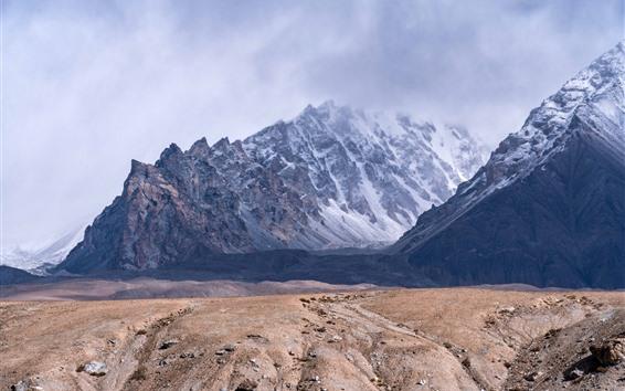 Papéis de Parede Pamirs, montanhas, nuvens, neve, névoa