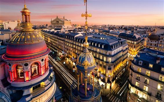 Fondos de pantalla París, ciudad, calle, casas, anochecer, luces, Francia