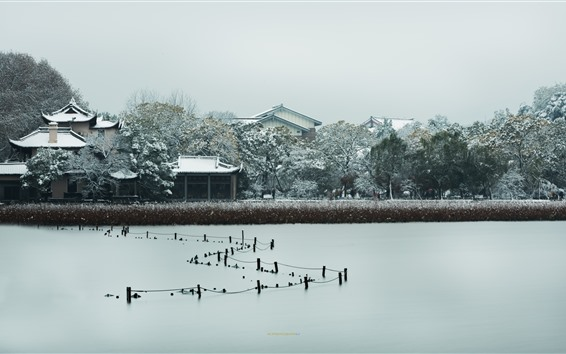 Wallpaper Pinghu Qiuyue, houses, trees, snow, winter, West Lake, Hangzhou, China
