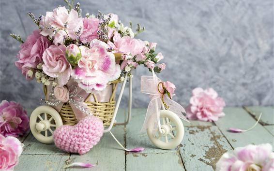 Fondos de pantalla Rosas rosas, corazón de amor, romántico.