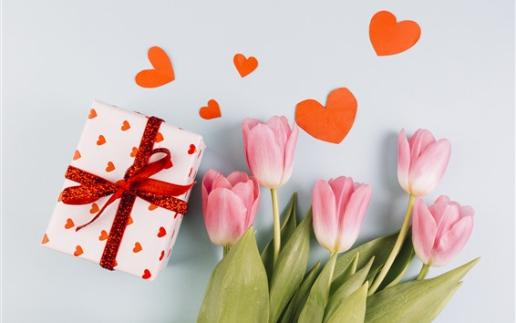 Papéis de Parede Tulipas cor de rosa, presente, corações de amor, romântico