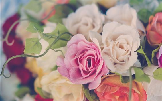 Papéis de Parede Rosas plásticas, flores, nebuloso