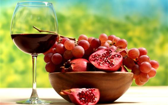 Fondos de pantalla Granada y uvas, vino