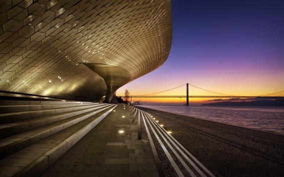 Papéis de Parede Portugal, lisboa, edifícios, escadas, rio, ponte, anoitecer
