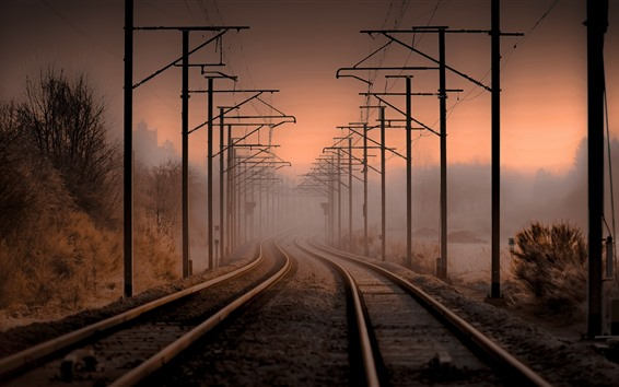 Wallpaper Railroad, power lines, fog