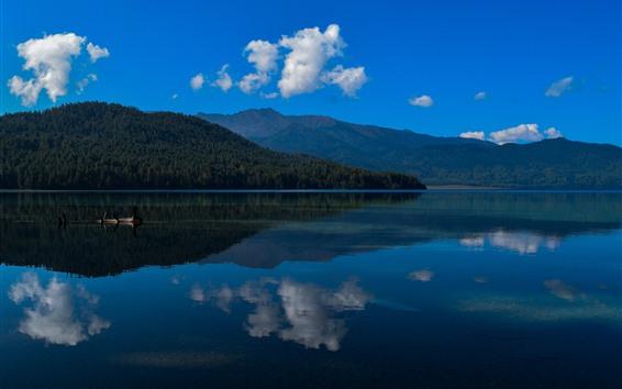 Fondos de pantalla Lago rara, agua cristalina, reflexión, cielo azul, Nepal
