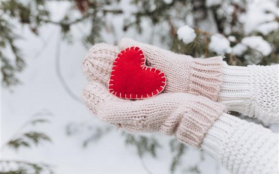 Papéis de Parede Coração de amor vermelho, mãos, luvas, inverno
