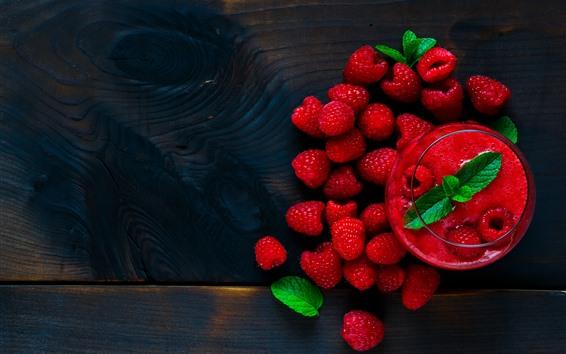 Fondos de pantalla Frambuesa roja, batidos, fruta.