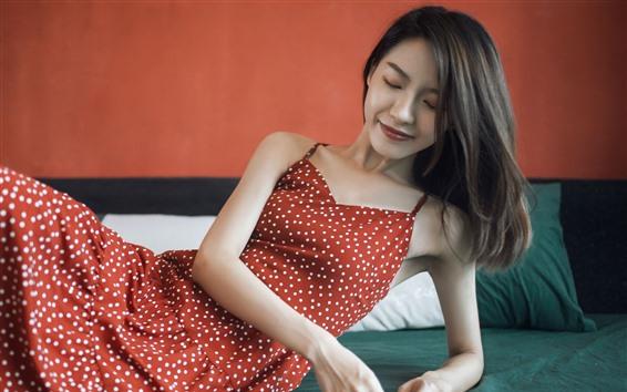 Wallpaper Red skirt Asian girl, smile, pose, bed