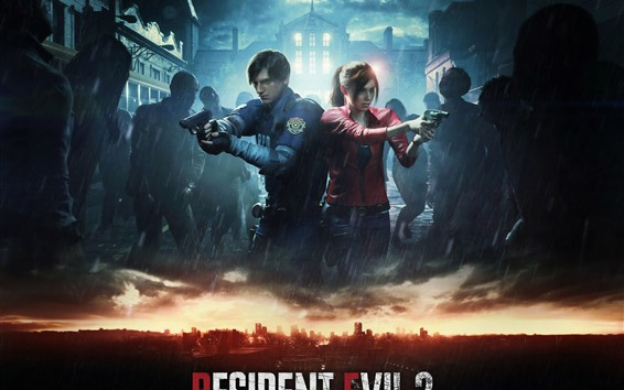 Wallpaper Resident Evil 2 Remake, PS4 game, rain, zombies