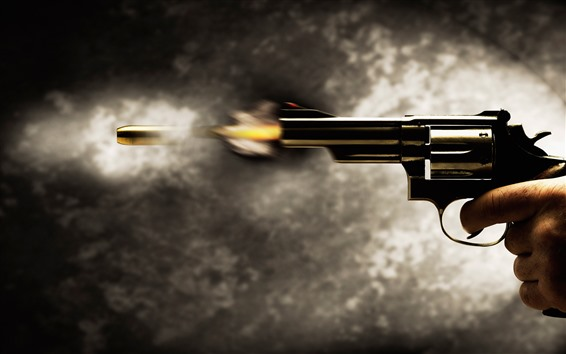 Wallpaper Revolver pistol, shoot, bullet, moment