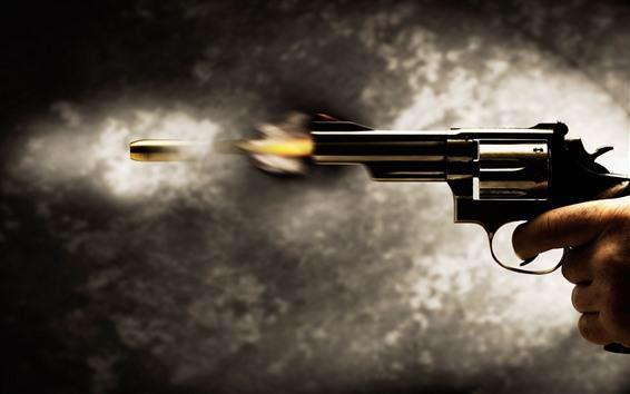 Papéis de Parede Pistola do revólver, tiro, bala, momento