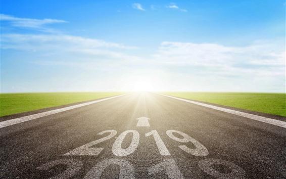 Fondos de pantalla Carretera, 2019, año nuevo, prado, rayos de sol, deslumbramiento
