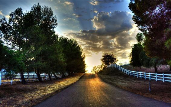 Fondos de pantalla Camino, cerca, árboles, nubes, puesta de sol
