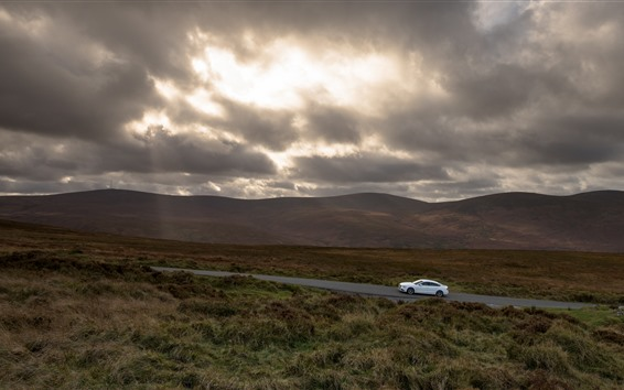Wallpaper Road, grass, white car, clouds