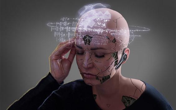 Fondos de pantalla Robot, niña, conocimiento, diseño creativo.