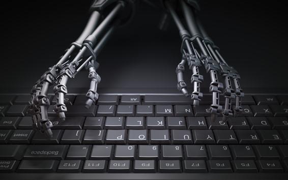 Wallpaper Robot, keyboard, hands