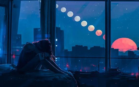 Papéis de Parede Menina da tristeza, quarto, janela, noite, lua, retrato da arte