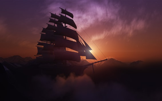 Обои Парусник, горы, закат, облака, туман, сумерки, креативный дизайн