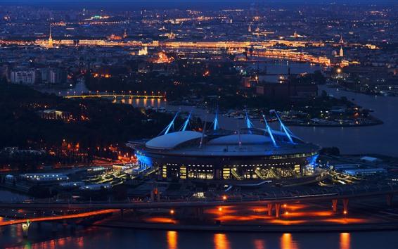 Papéis de Parede São petersburgo, estádio, noite, cidade, rússia