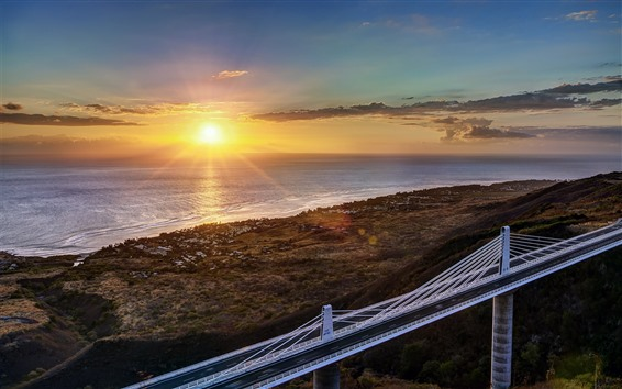 Fondos de pantalla Mar, costa, amanecer, puente, carretera.