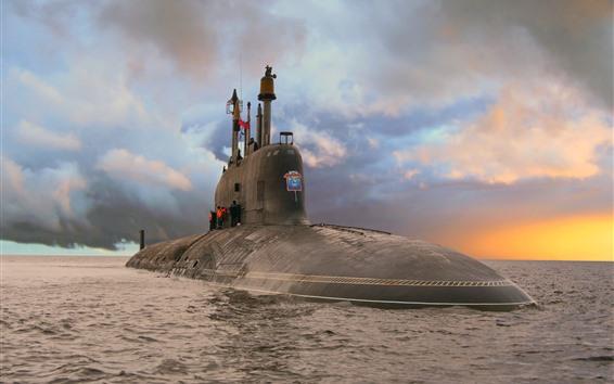 Fondos de pantalla Mar, submarino, nubes, puesta de sol