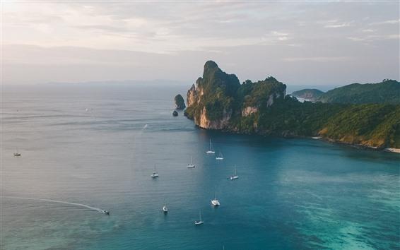 Fondos de pantalla Mar, yates, Costa, vista superior