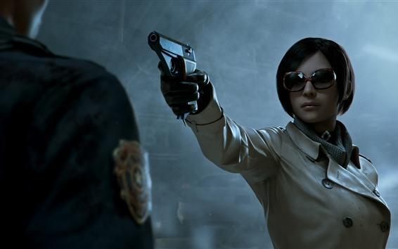 Fond d'écran Cheveux courts fille, lunettes, pistolet, jeu PC