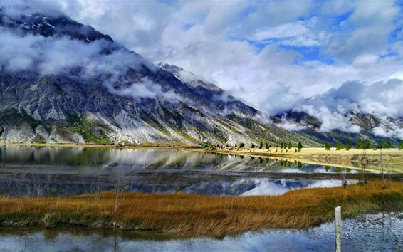 Papéis de Parede Linha de Sichuan-Tibet, Ranwu, montanhas, nuvens, lago