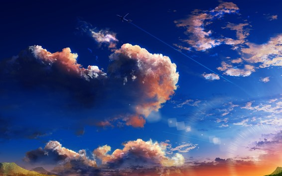 Fondos de pantalla Cielo, nubes, plano, cuadro del arte