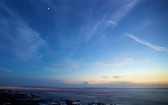 Fondos de pantalla Cielo, estrellado, nubes, atardecer, mar